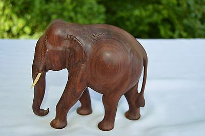 """Vintage India Wooden Elephant Lowered Trunk Carved 7"""" Hard Wood"""