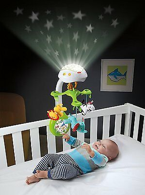 3-In-1 Baby Projection Mobile Music Crib Toy Stars Infant Musical Light Animal