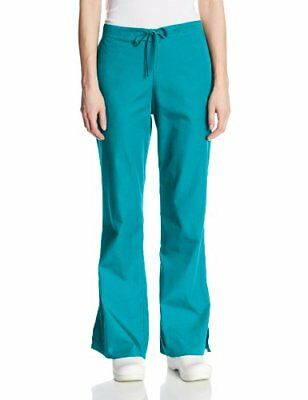 Cherokee Women's Tall Fashionable Flare Leg Drawstring Pant Teal Blue 2X-Small