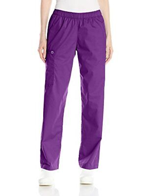 WonderWink 'WonderWORK Pull-On Cargo Pant' Scrub Bottoms Eggplant XX-Small