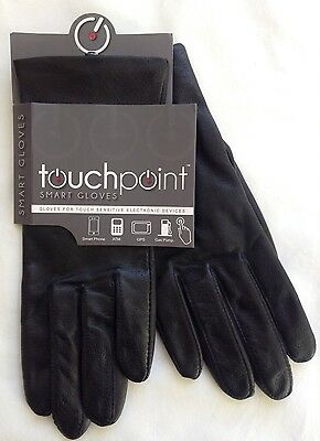 Touchpoint Women's Leather Gloves Polyester Lined Large Black New