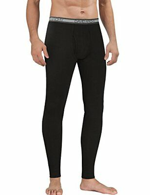David Archy Men's Heavy Weight Base Layer Thermal Bottoms (L,Black)