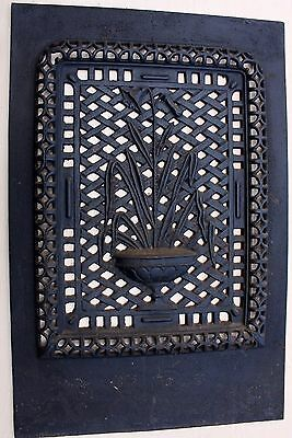 Antique Ornate Cast Iron Art Nouveau Pierced Floral Motif Heating Grate Vent