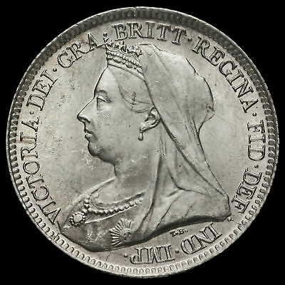 1893 Queen Victoria Veiled Head Silver Sixpence, UNC