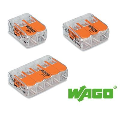 Wago 2 3 or 5 Way Compact Lever Connector 221-412 221-413 221-415
