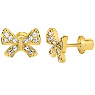 18k Gold Plated Micro Pave White Crystal Screw Back Bow Girls Kids Earrings 10mm