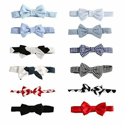 """Laribbons 12 Pack 3.5"""" Infant Boys Dailty Adjustable Bow Ties Party Self Tie"""