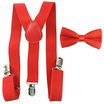 Toddler Baby Boys Girls Clip On Suspenders Bow Tie Set Kid Pre Tied Bowtie (Red)