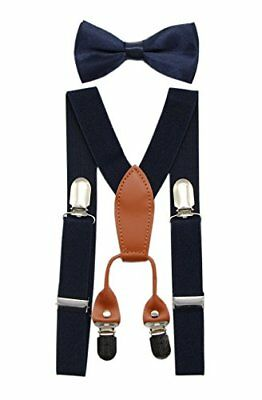 JAIFEI Toddler Kids 4 Clips Adjustable Suspenders and Matching Bow Tie Set (N...