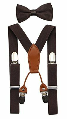 JAIFEI Toddler Kids 4 Clips Adjustable Suspenders and Matching Bow Tie Set (B...