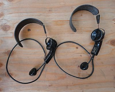 2 Vtg WESTERN ELECTRIC TELEPHONE SWITCHBOARD OPERATOR HEADSET 53 leather 15c*