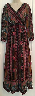 Vintage 1960s East Indian Black Pink Blue Long Full Skirt Maxi Dress Gown S/M