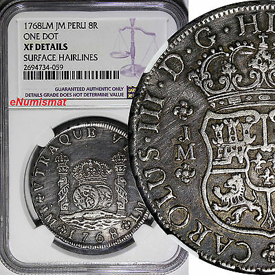 PERU Charles III Silver 1768 LM JM  8 Reales NGC XF DETAILS SCARCE KM# A64.2