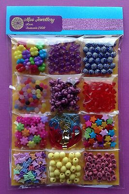 Kids Craft Bead Kit Children Jewellery Making Bulk Mixed Colour - Aussie Seller!