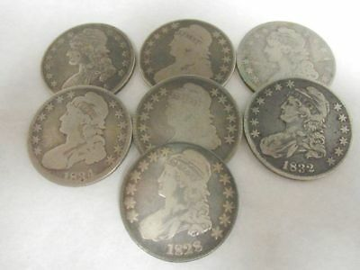 7 Capped Bust Silver Half Dollar Coins Dates Between 1817-1836