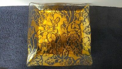 Unique Square Decoraction Or Serve Glass Plate With Gold Inlay