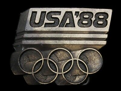 Mf19120 Vintage 1988 **usa Olympic Games** Sports Belt Buckle