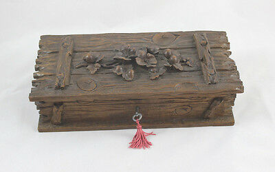 Antique Black Forest Jewelry Box  with Floral Carving
