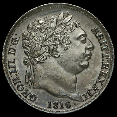 1816 George III Milled Silver Sixpence, Uncirculated