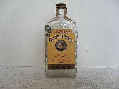 Vintage Western Colonel Silver Swan Whiskey Bottle