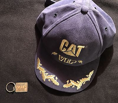 Caterpillar Tractor Lot Of Vintage VIP Hat And Key Chain