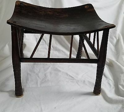 ANTIQUE EARLY 20th CENTURY WOODEN EGYPTIAN THEBES STOOL