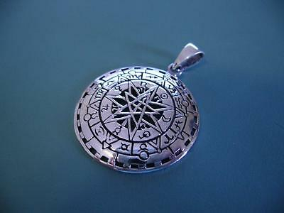 Sterling Silver 925 Zodiac Star Sign Solid Silver Pentagram Pendant - 8G