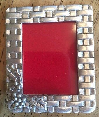 Longaberger Small Pewter Frame - Woven detail with holly berries NIB Exclusive