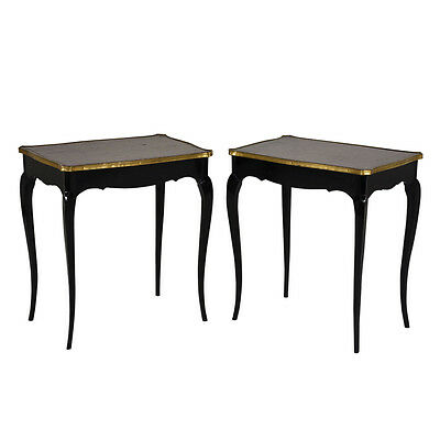 Pair of Antique French Louis XV-style Side Tables Beautiful Brass w/Leather Top