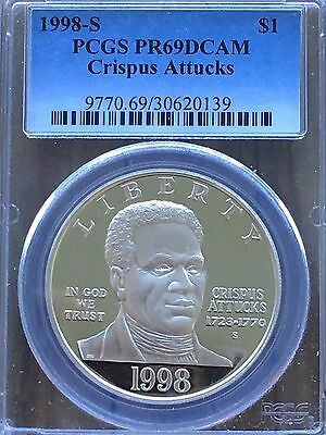 1998-S Black Rev War Patriots(Crispus Attucks) Silver Commem $1 PR 69DCAM PCGS