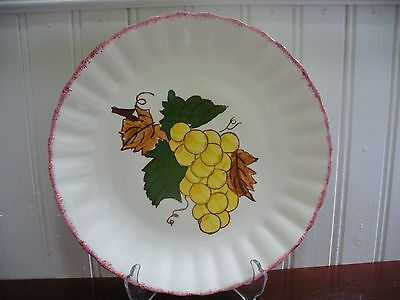 "Blue Ridge Southern Pottery Country Fair Green Grapes 8.5"" Plate Red Rim"