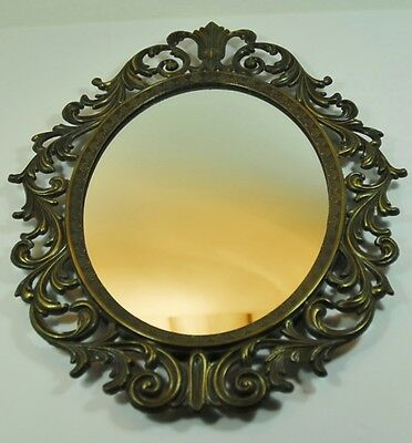 Vintage Small Brass Bronze Oval Ornate Wall Mirror
