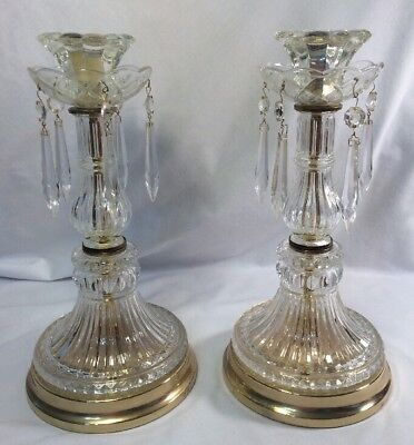"Fabulous Pair Of Vintage 24% Lead Crystal Candlestick Holders  13"" Tall"