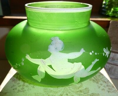 Mary Gregory Vintage/Antique Cherub Frosted Wide Vase