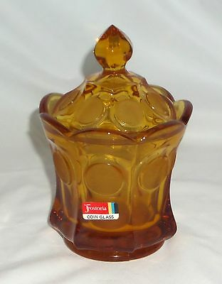 """Fostoria COIN FROSTED AMBER * 6 1/2"""" CANDY w/COVER & STICKER*"""