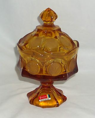 """Fostoria COIN FROSTED AMBER *8 1/2"""" WEDDING BOWL W/COVER & STICKER*"""