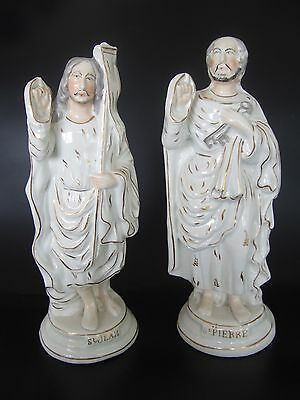 Pair Antique Faiences Varages (?) Statues of Saint Jean and St Pierre