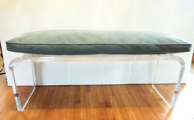 Vintage Thick Mid Century Modern 1970s Lucite Large Waterfall Bench 49.5""
