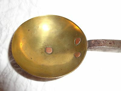 Antique 19th.c Handmade Brass & Wrought Ladle, Metal