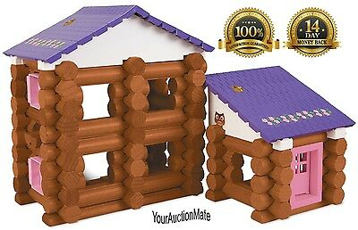 LINCOLN LOGS PINK Country Meadow Cottage Building Set Stickers Wood Figures Acc.