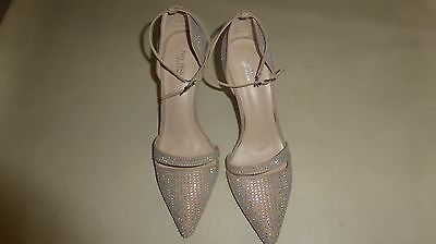 WOMAN ladies ZARA beige bling HIGH HEEL SHOES & ANKLE STRAP SANDALS 35, 39