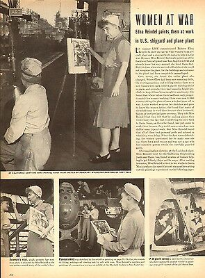 1942 WW II article WOMAN AT WAR , 9 Great Paintings by Edna Reindel 5pgs 062717