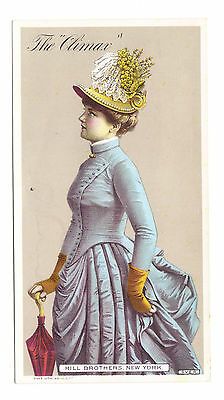 """Hill Brothers Millinery """"The Climax"""" Hat Trade Card 1886"""