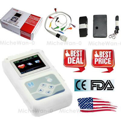 Newest 12-channel ECG/EKG Holter System/Recorder Monitor 24h ​Analyzer Software