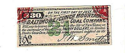 Coal Company Bond Coupon 1887 Mining Paid in Gold Coin