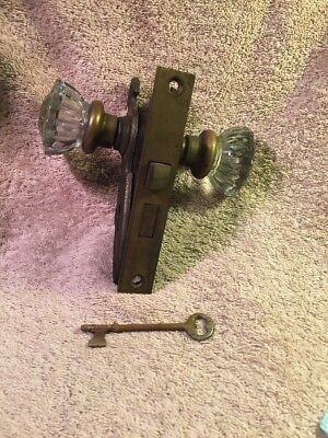VINTAGE OLD ANTIQUE GLASS DOOR KNOB SET w/ LATCH BACK PLATES