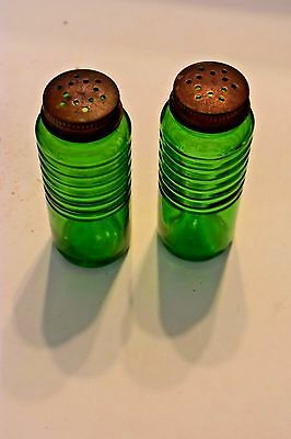 Classic Green Salt & Pepper Shakers Vintag Depression Glass Set Metal Lids 4.5""