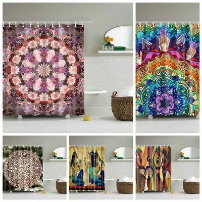 Colorful Abstract 3D Printing Polyester Bathroom Set Fabric Shower Curtain Hooks