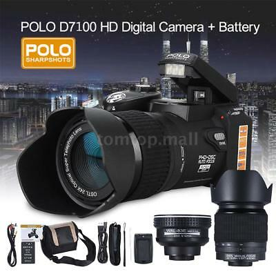 "POLO D7200 ULTRA HD 33MP 3"" LCD 24X ZOOM LED Digital DSLR Camera Photo Camcorder"