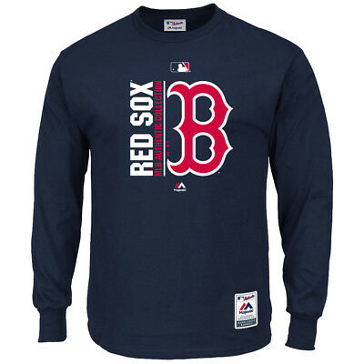 Boston Red Sox Majestic MLB AC On-Field Long Sleeve Icon T-Shirt - Navy